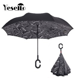 Wholesale Nylon Fabric Roll - Yesello Newspaper Reverse Double Layer Inverted Umbrella Self Stand Rain Protection Long Hands Folding For Car Fishing