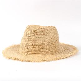 Wholesale Ladies Sun Hats Travel - 100% Raffia Straw Summer Women Travel Beach Sun Hat For Elegant Lady Fedora Floppy Wide Brim Panama Sunbonnet