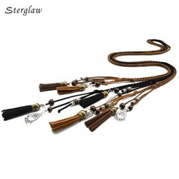 Wholesale Harness Belt Leather Women - 170cm vintage braided rope pu waist belts for women roupa feminina 2017 designer Harness for female leather on the body J112