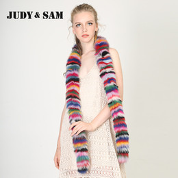 Wholesale Fox Fur Strips - Stripped Colorful Real Fox Fur Scarf for Women Soft Neckwarm Long Scarves