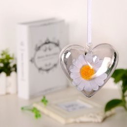 Wholesale Plastic Heart Ornament - Flower Preservation Container Transparent Plastic Hollow Heart Shape Ball Candy Box for Christmas Tree Hanging Home Decor F17