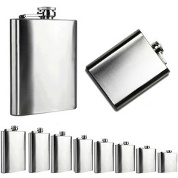 Wholesale mini alcohol flask - Portable Hip Flask Stainless Steel Pocket Alcohol Whiskey Liquor Screw Cap Men Gift Outdoor Drinkware 6 Size 4oz to 10oz