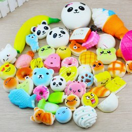 Wholesale Toast Bread Bag - 10pcs lot Kawaii Squishy Bun Toast Donut Bread for cell phone Bag Charm Straps mixed Rare Squishies lanyard scented