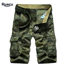 Шорты тренировочные мужские онлайн-Ruoru New Cargo Shorts Men  Army Camouflage Shorts Cotton Summer Mens Workout Short Multi Pockets Designer No Belt