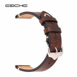wholesale horse watches Promo Codes - EACHE Wholesale Retail 20mm 22mm Crazy Horse Handmade Genuie Leather Watch band Straps Different Colors & Size
