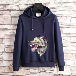 Wholesale Fleece Hiking - 2018 Italy famous brand gucc Mens Animal wolf print Skateboards Hoodie Male 100% Cotton Triangle Sweat Sweatshirt Hoodies