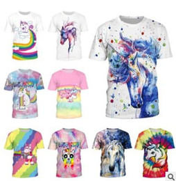 Wholesale Couple Outfit Clothing - Hot summer men tees T-shirt New rainbow unicorn printing tops Couple outfit team clothing Pullover women's t-shirt