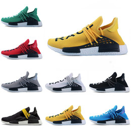 buy popular 8a2ef 160a9 New Explosion Human Race Afro Hu Trial Red Pharrell Williams scarpe da  corsa da uomo Black yellow lace Yellow Blue women trainers sports sneaker