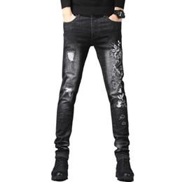 0d1e35684466 2019 jeans bordados de moda Dragón para hombre Parche Bordado Skinny Jeans  Moda Casual Stretch Denim