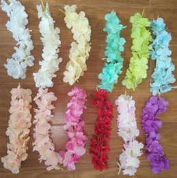 Wholesale Wholesale Silk Xmas Flowers - Hotest Elegant Artificial Hydangea Silk Flower Vine Home Wall Hanging Wisteria Garland 14 colors Available For Wedding Xmas Decoration