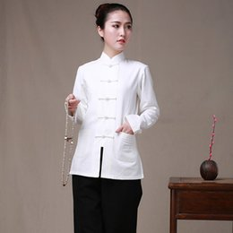 Wholesale Traditional Chinese Clothes Red - Long Sleeve Cotton Traditional Chinese Clothes Tang Suit Top Women Kung Fu Tai Chi Uniform Shirt Blouse Hanfu femal pure costume