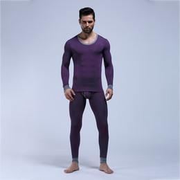 Wholesale Mens Thermal Winter - Winter Mens Warm Thermal Underwear Set Male Ultrathin Heat Long Johns High Elastic Sexy Black Modal Thermal Underwear Sets Velet Long Johns