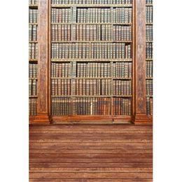 pavimenti in vinile d'epoca Sconti Graduation Season School Bookshelf Vinyl Fondali per Fotografia Vintage Libri Bambini Bambini Retro Foto Studio Sfondi Pavimenti in legno