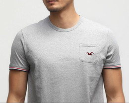 Wholesale united states big - Free shipping Europe and United States the new fashion big yards men's T-shirt!Men's pure color 100% cotton T-shirt with brand logo