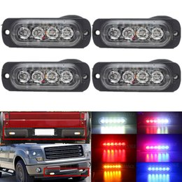 Wholesale Red Blue Beacon Lights - Car-Styling 4 Led Strobe Warning Light Amber Red Blue Strobe Emergency Grille Flashing Lightbar Truck Car Beacon Slim Bright