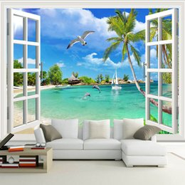 Wholesale 3d Scenery Photo - Custom Photo Wallpaper Hawaii 3D Window Scenery Bedroom Living Room Sofa TV Background Wall Covering Mural Wallpapers For Wall