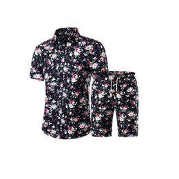 83e40260ba 2019 chaqueta de punto de verano Camisa de manga corta con estampado floral  para hombre de