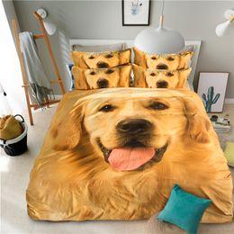 Argentina 3D Golden Retriever Animal Bedding Set Cute Pet Dog funda nórdica juegos de cama Twin Full Queen King Size 3pcs Kid Teen Girl Textile supplier adult duvet set Suministro