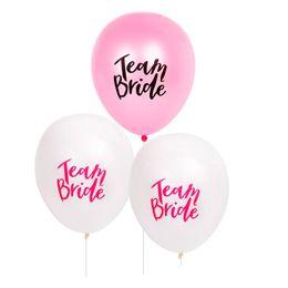 Balões de casamento rosa branco on-line-Branco Rosa Carta Balão Equipe Noiva Balões De Látex DIY Decorações de Casamento Bachelorette Favor Do Partido Suprimentos Crianças Brinquedos 20 9ws UU