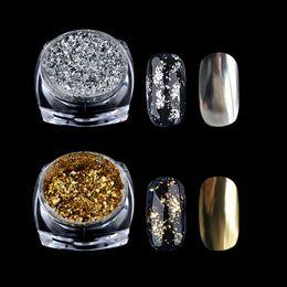 pregos de acrílico de ouro Desconto Nova 0.2g / Caixa De Prata De Ouro Espelho Em Pó Floco De Alumínio Prego Lantejoulas Unhas De Acrílico Glitter DIY Unhas de Gel Polonês Chrome Pigmento Deco