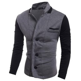 Wholesale Slim Suit Small - Latest Coat Patchwork Designs 2017 Men Spring Autumn Blazer Small Suit Fashion Casual Slim Fit Knitting Suit Jacket