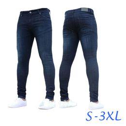 644e383aaab тонкие синие джинсы Скидка 2018 Новая Мода Синий Узкие Джинсы Мужчины Марка  Slim Fit Хлопок Джинсовые