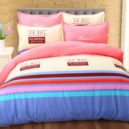 2019 camas baixas baratas 3D Padrão de Impressão de Listra Cama Consolador Set Duvet Casos Capas de Cama Plana Lençóis de Cama Baratos Em Estoque camas baixas baratas barato