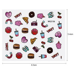 Wholesale Ice Cream Stickers - tickers & Decals Full Beauty 1pc Nail Water Sticker Hamburger Coke Ice Cream Pizza Transfer Decals Tattoo Tips Nail art Manicure Tool...