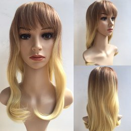 Wholesale Human Hair Afro Wigs Women - Afro Hair Charming Long Blond Wig Simulation Brazilian Human Hair Straight Wigs Full Wigs For Black Women Y demand