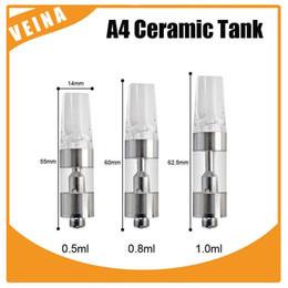 Wholesale Disposable E Cigarette Atomizer - Newest A4 Ceramic Glass Tank Pyrex Glass CE3 Cartridge Atomizer 0.5ml 0.8ml 1.0ml Disposable E-Cigarette Vape Cartridge 14mm Diameter