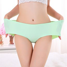 plus size seamless panties Promo Codes - One piece seamless Ice silk Cool Summer Style Underwears Women Panties Plus Size 7XL Sexy lingeries women's briefs
