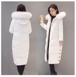 Wholesale Womens Real White Fur Coat - New Womens Long Parka Winter Down Jacket Thick Warm Straight Real Fur Collar Hooded Down Coat