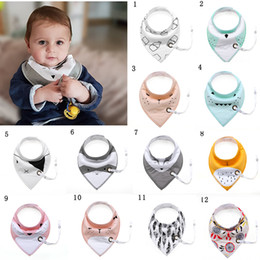 Wholesale Feeding Baby Bibs - Baby Bibs with Pacifier Chain Newborn Waterproof Cotton Bandana Infant Toddler Triangle Feeding Scarf Burp Cloths Saliva Towel