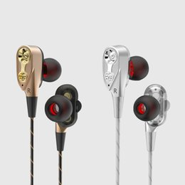 Wholesale Wireless Headphones Remote - Earphone In-ear Earphone Stereo Bass with Mic Dual Driver Noise Cancelling Headphone Remote Control Universal Earphone for Phone and Tablet