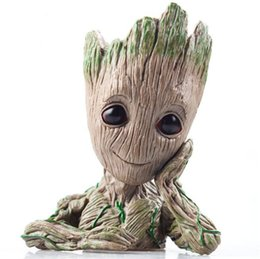 Wholesale People Heroes - The Avengers 3 Toys Guardians of The Galaxy Costume Accessories Groot Action Figures Cute Model Hero Toy Pen Pot Ornament For Christmas