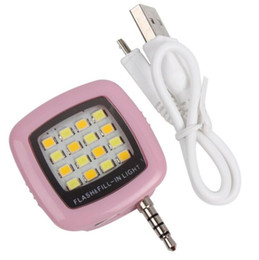 2020 lampeggiante per il telefono cellulare Cell Phone Camera Fill Light Mini 3.5mm Smartphone Portatile 16 LED LED Flash Fill Light per iPhone IOS Android sconti lampeggiante per il telefono cellulare