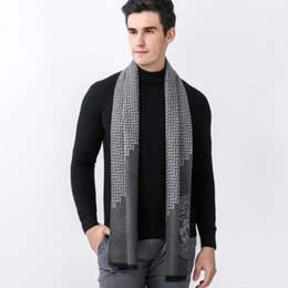 Wholesale Geometric Style Scarves - Winter Europe Style Warm Soft Men Scarf Luxury Brand Business Cashmere Long Scarves Fashion Geometric Shawl Scarf