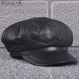 03dbb19553779a XdanqinX Autumn Winter Women's Hat Genuine Leather Newsboy Caps Elegant  Sheepskin Tongue Cap For Women Cuero Genuino Sombrero men sheepskin hats  outlet