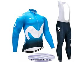 Wholesale Long Movistar Jersey - 2018 Movistar long sleeve cycling jersey sets winter FleeceTour de France Bisiklet wear bike maillot ropa ciclismo Bicycle MTB 9D pad