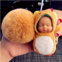 Canada Super sympa en cristal flocage nourrisson dormant KEYCHAIN KEYRING Ball Fluffy mignon bébé porte-clés porte-clés pour les amoureux Hommes Femmes Bag accessoires cheap infant sleep bags Offre