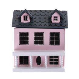 2019 große plastikpuppen Neue 1:12 Diy Puppenhaus Miniatur Holz Rosa Puppenhaus Für kind Spielzeug Geburtstagsgeschenke Puppenhaus miniatur