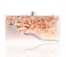 Wholesale celebrity pink bag - 2018 new style diamond flower Evening Clutch Hand Bag Handmade Evening Bags celebrities bag lady