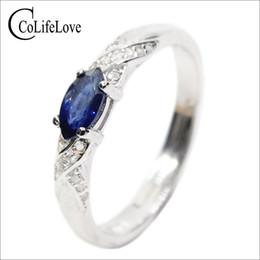 Hotsale natürlichen Saphir-Ring 3 mm * 6 mm Saphir Edelstein Silber Ring massiv 925 Silber Saphir Schmuck von Fabrikanten