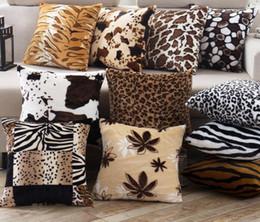 Almohada leopardo online-Leopardo Funda de almohada de grano Cojín de lujo de la vendimia Cojín decorativo Funda de almohada Suave Funda de almohada Sofá del coche Cojín decorativo