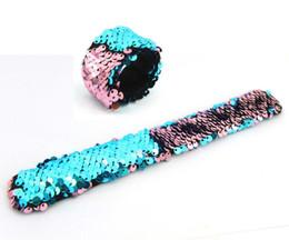Wholesale Kids Slap Bracelets - DHL Free Flexible Mermaid Sequins Slap Snap Bracelet Wristband Reversible Sequins Bracelet Kid Boys Girls Jewelry Gift
