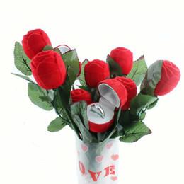 Paquetes de encantos rojos online-Día de San Valentín Charm Red Rose anillo de la flor caja del partido pendiente de la boda colgante de joyería caja de regalo paquete de exhibición cajas creativas
