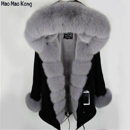 Capuchas de piel desmontables online-Negro Piel Parka Con desmontable mujeres de la piel del invierno de la chaqueta gruesa capa genuino Fox largo capó parka de color púrpura Mujer