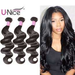 Wholesale remy weft extensions - UNice Brazilian Body Wave Human Hair 3 Bundles Raw Virgin Indian Hair Extensions Peruvian Human Hair Bundles Malaysian Weave Wholesale Bulk