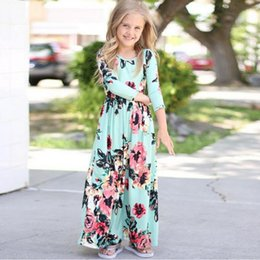 Wholesale Children Gowns Dresses - 2018 New Fashion Baby girls kids beautiful dress long sleeve printed dress baby girls children long skirt