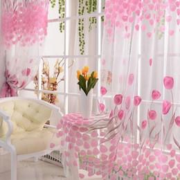 93ce07e50 Nueva venta caliente tulipán de la flor de la bufanda escarpada puerta de  la ventana cortina de la ventana cubre panel cenefas rosa voile  cortinaZI-369